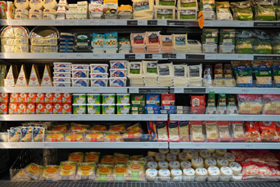 Dairy products display shelf