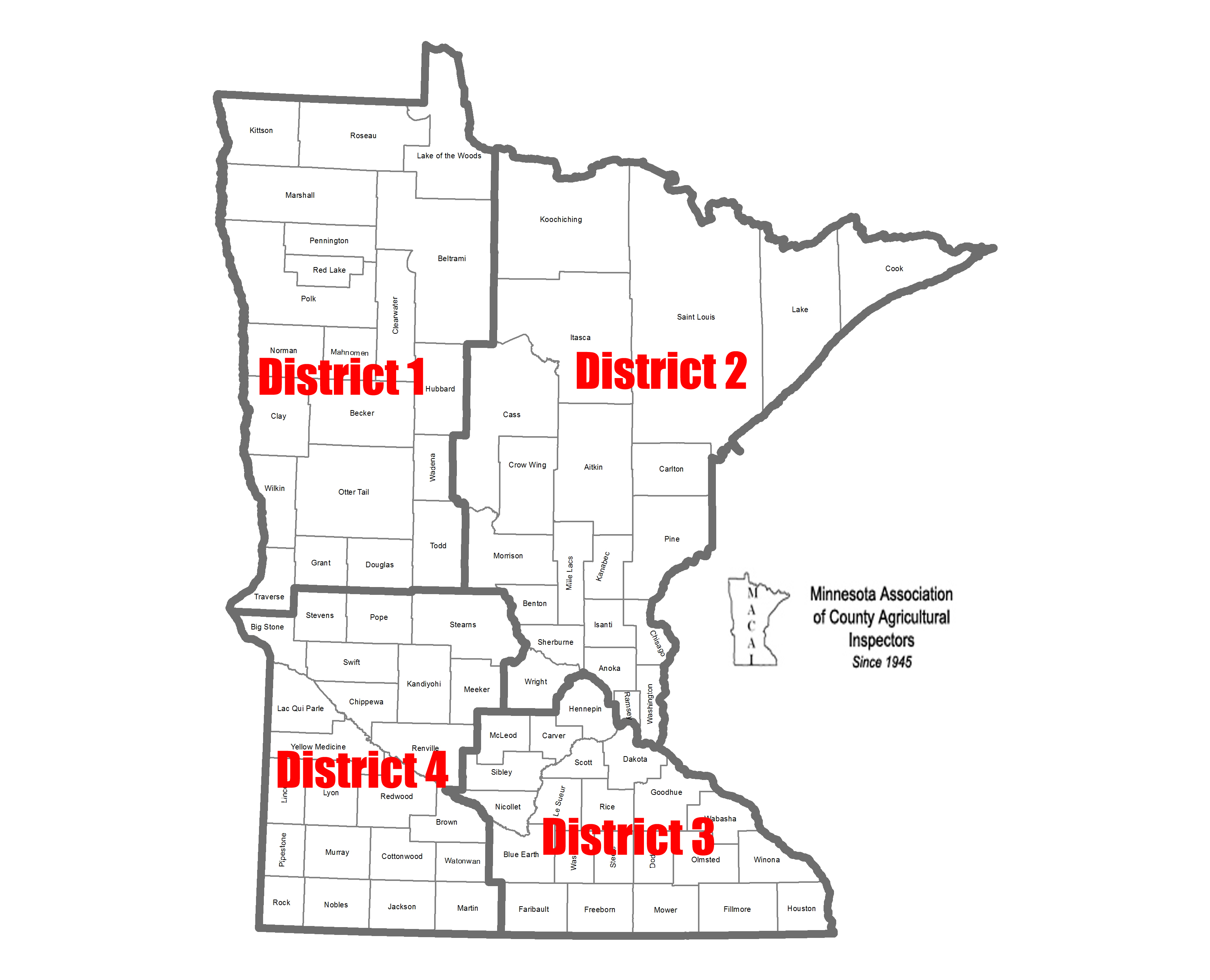 Minnesota County Ag Inspector districts