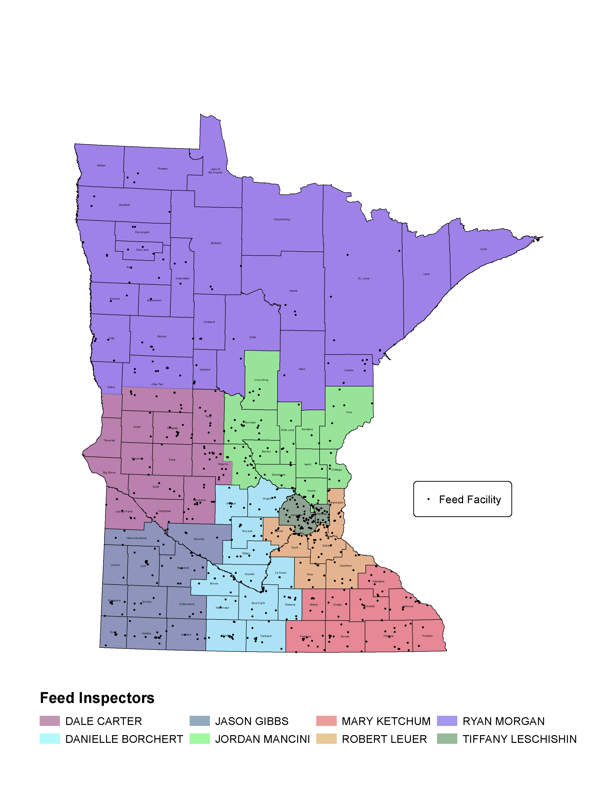 Minnesota county map showing feed inspector territories specified in the text on this page.