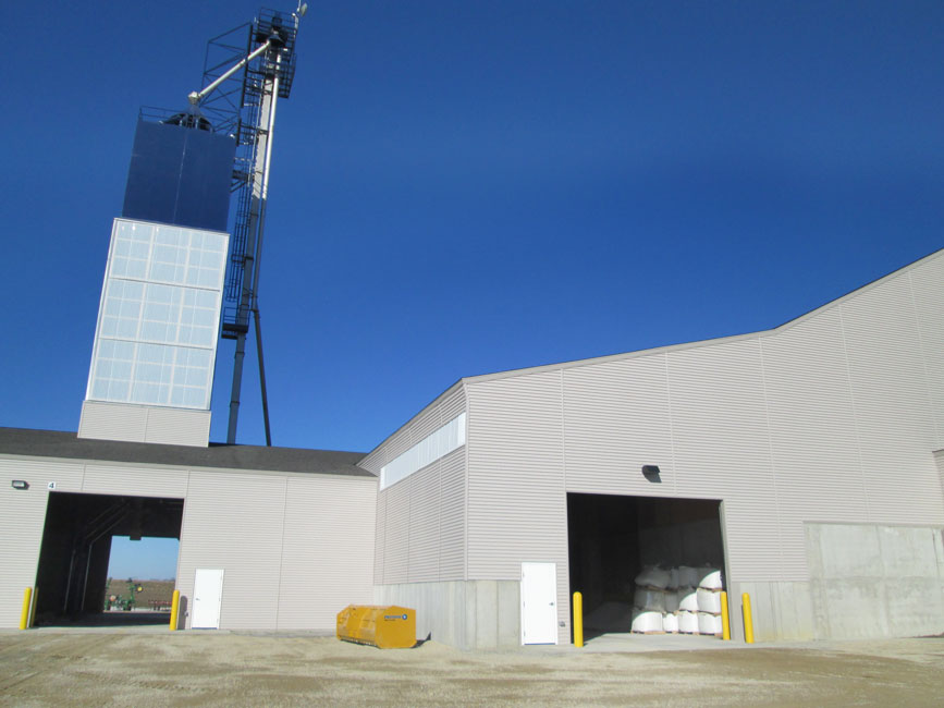 Photo shows a newly constructed dry bulk fertilizer facility with load out tower.