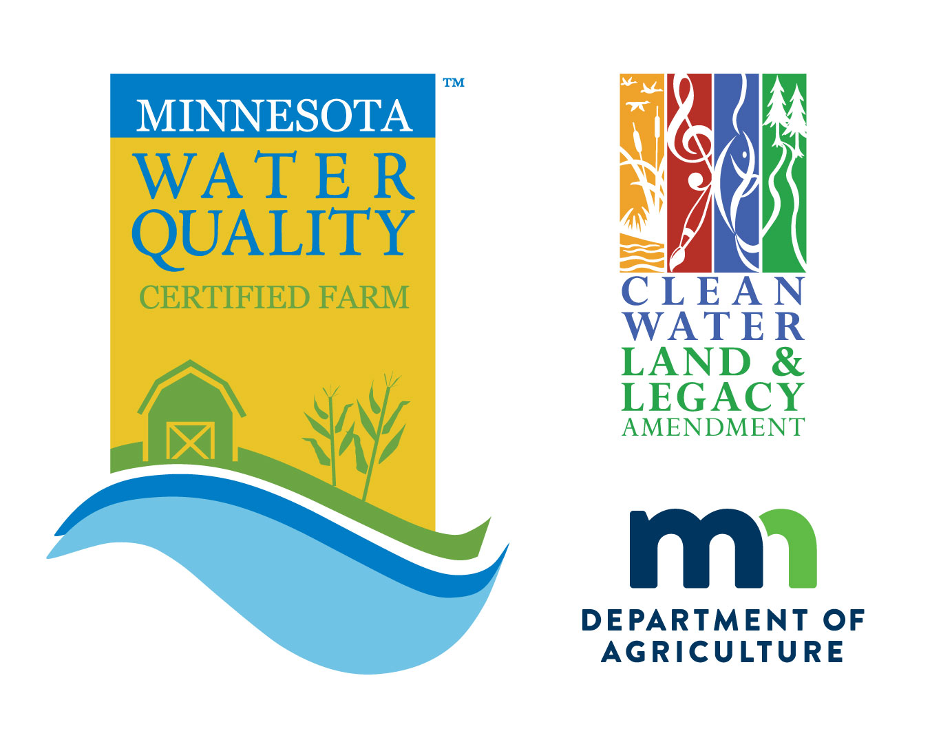 MAWQCP, MDA, and Clean Water Land & Legacy logos