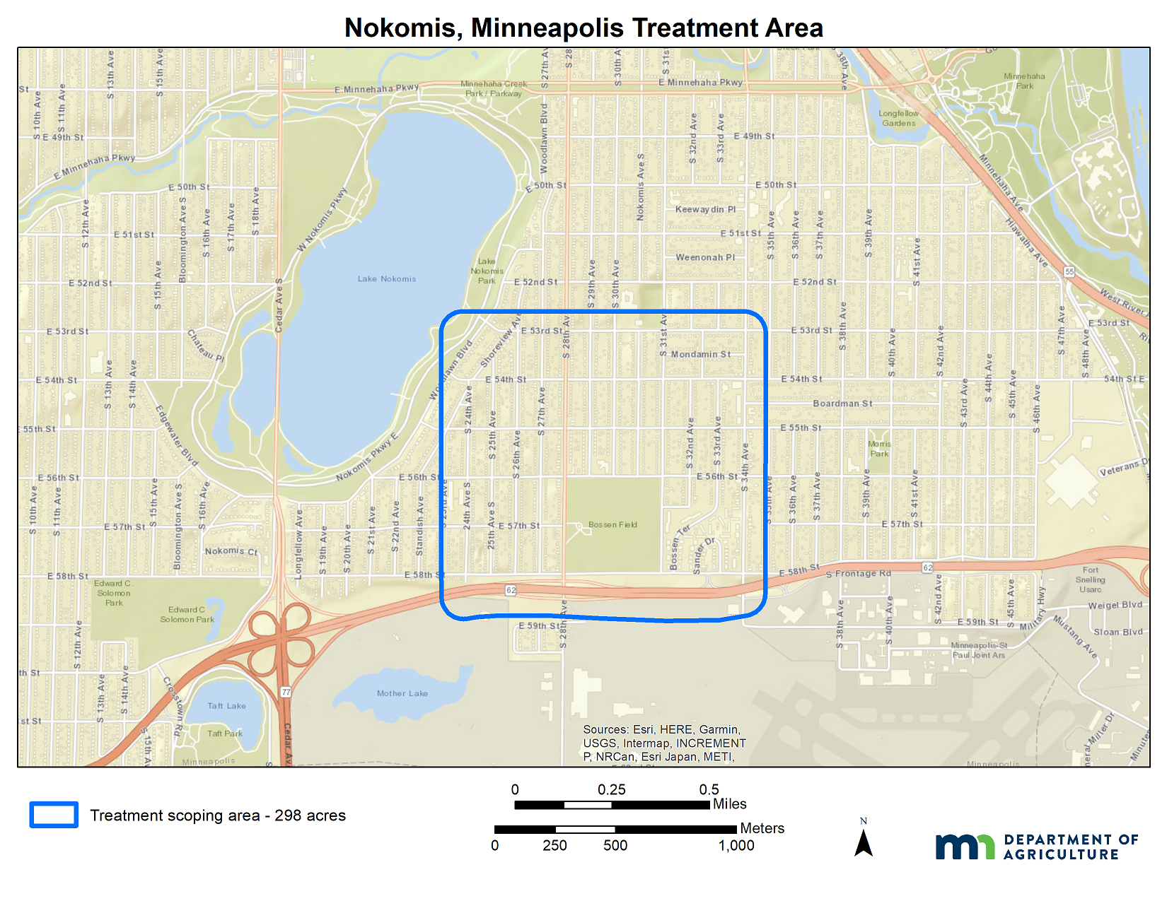 A map of the South Minneapolis gypsy moth treatment site.