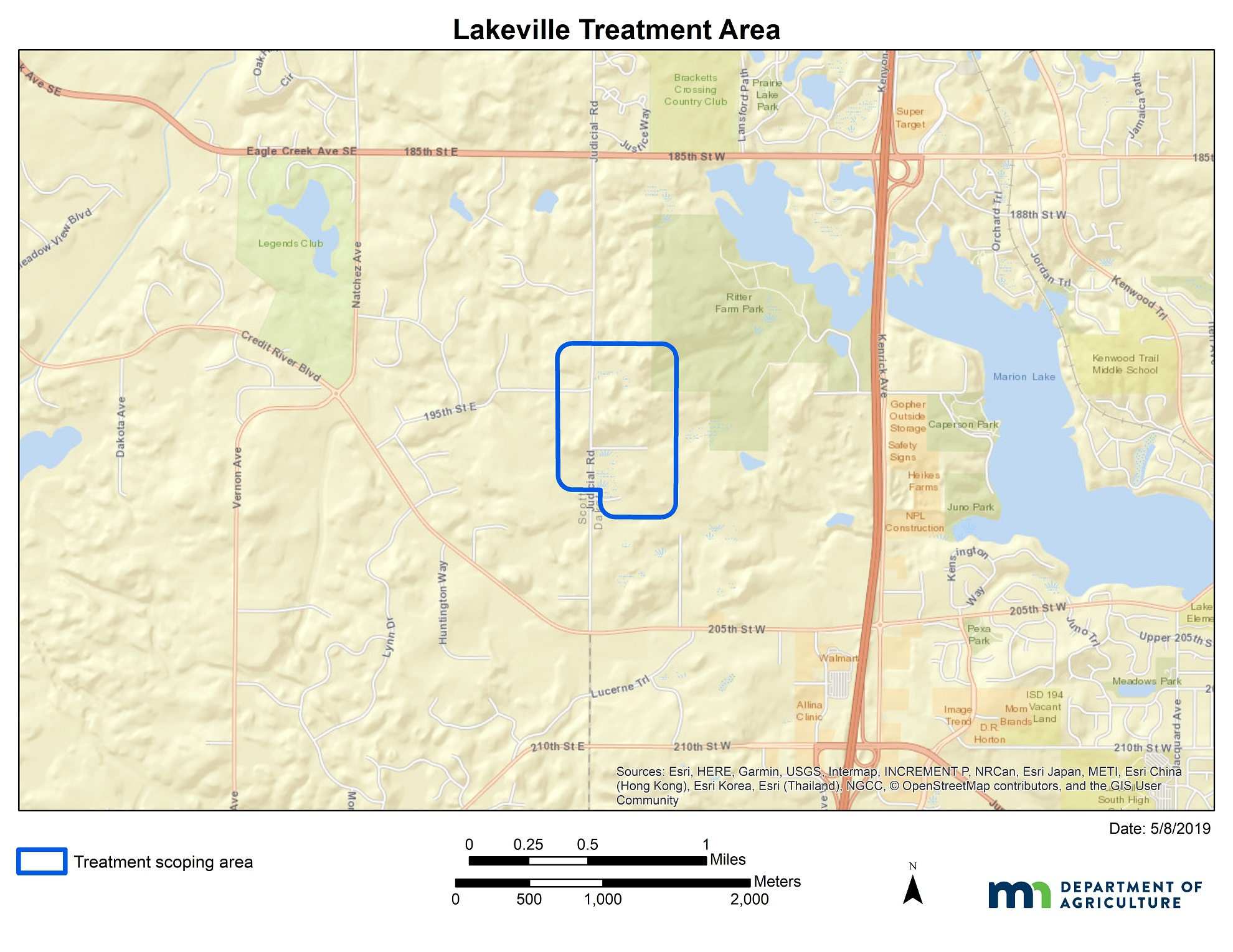A map of the Lakeville treatment area