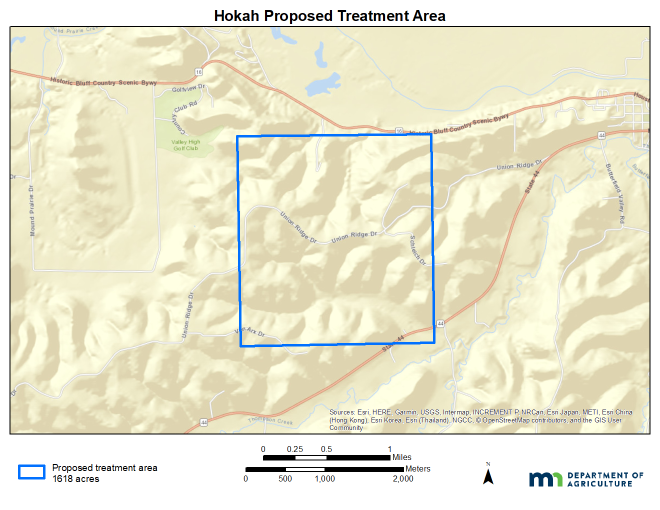 A map of the Hokah area proposed gypsy moth treatment