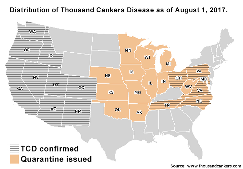 Map of continental United States showing states with confirmed TCD and States with external quarantines as of August 1, 2017