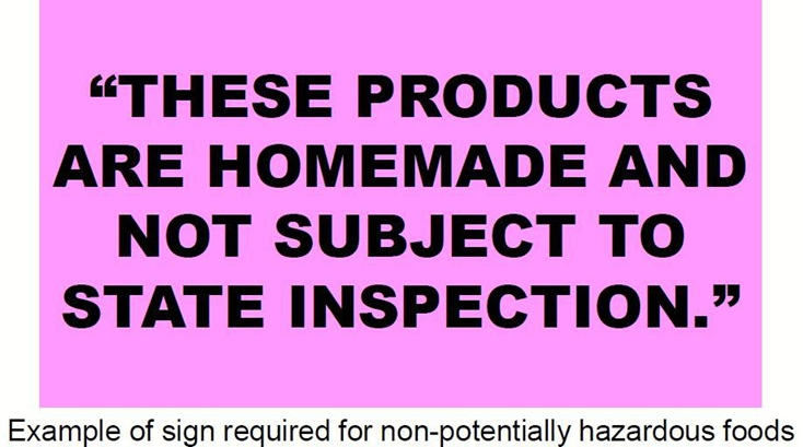 Magenta sign: These canned goods are homemade and not subject to state inspection