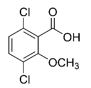The chemical structure of dicamba. Structure includes, Cl, O, OH, OCH3.