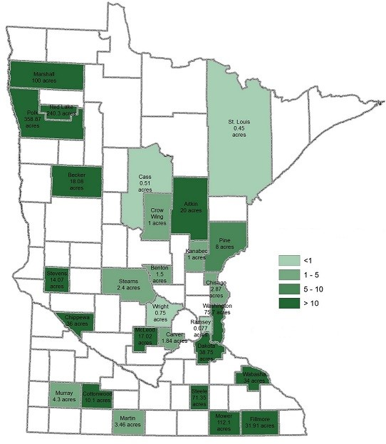 A map of Minnesota counties showing the acreage of hemp grown in 2017. The highest concentration of acreage was in the northwest corner of the state, in Polk, Red Lake, and Marshall counties.