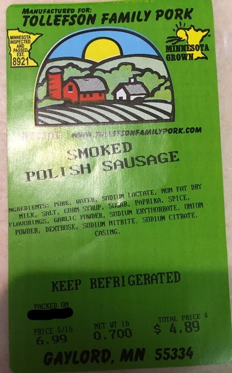 Tollefson Family Pork Smoked Polish Sausage Label