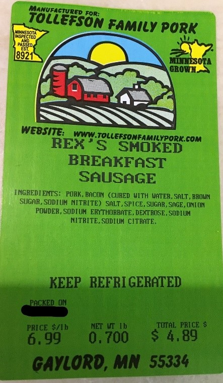 Tollefson Family Pork Rex's Smoked Breakfast Sausage Label