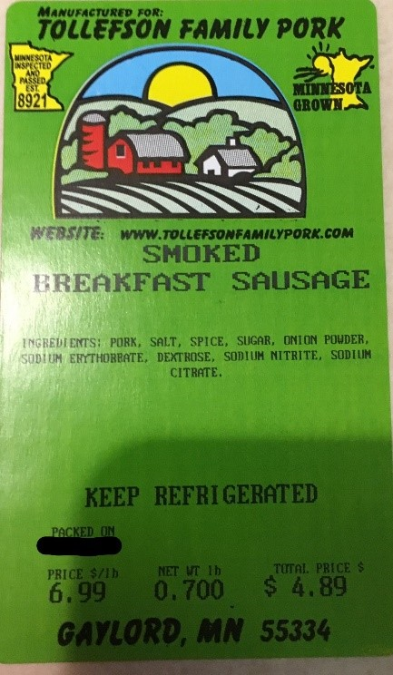 Tollefson Family Pork Smoked Breakfast Sausage Label