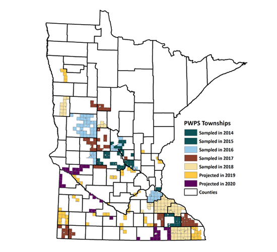 Map of Minnesota illustrating the townships monitored in 2014-2018 and the townships proposed for monitoring in either 2019 or 2020.