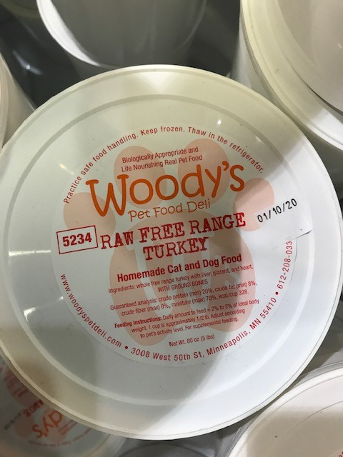 Woody's Pet Food Deli Raw Free Range Turkey Pet Food Use by Date January 10, 2020