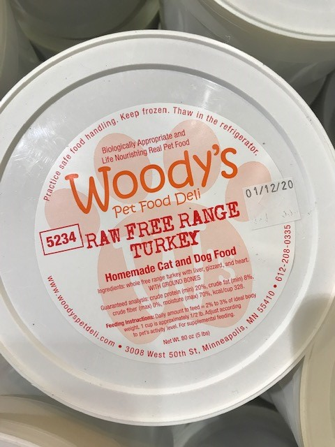 Woody's Pet Food Deli Raw Free Range Turkey Pet Food Use by Date January 12, 2020
